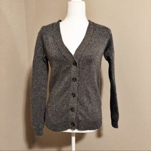 Ann Taylor wool blend metallic silver cardigan